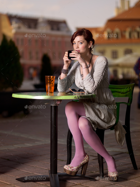 girl in city square - Stock Photo - Images