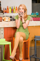 attractive blonde girl drinking coffee - PhotoDune Item for Sale