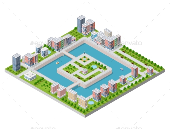 Isometric Vector Illustration - Buildings Objects