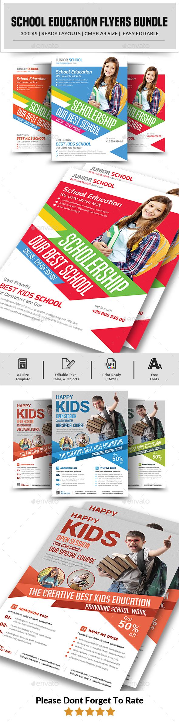 School Education Flyers Bundle - Corporate Flyers