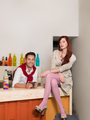 attractive couple in colorful cafe - PhotoDune Item for Sale