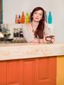 beautiful caucasian girl in colorful bar - PhotoDune Item for Sale