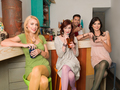 pretty women hanging out in a colorful cafe - PhotoDune Item for Sale