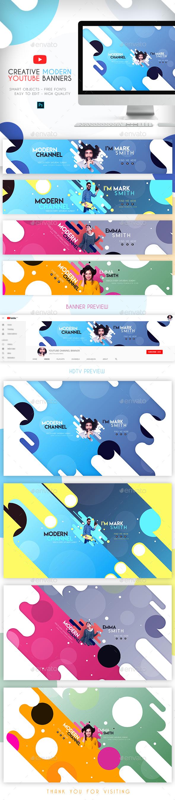 4 Creative Modern YouTube Banners - YouTube Social Media