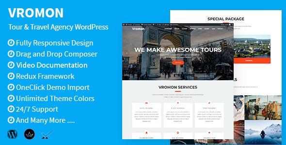 Image of Vromon - Tour & Travel Agency WordPress Theme