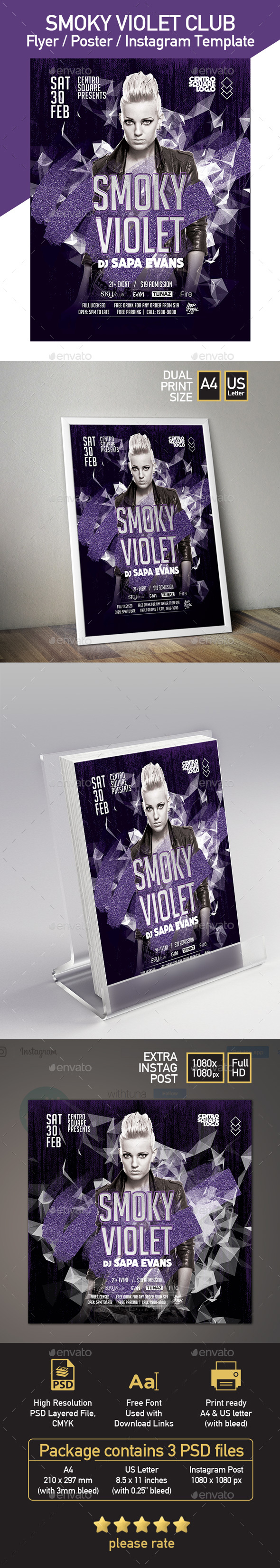 Smoky Violet Party - Poster & Flyer Templates - Clubs & Parties Events