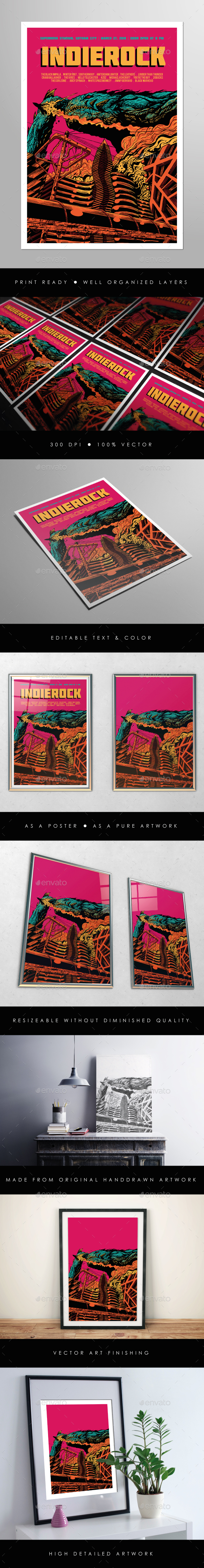 Indie Rock Vol. 10 Flyer Poster - Concerts Events