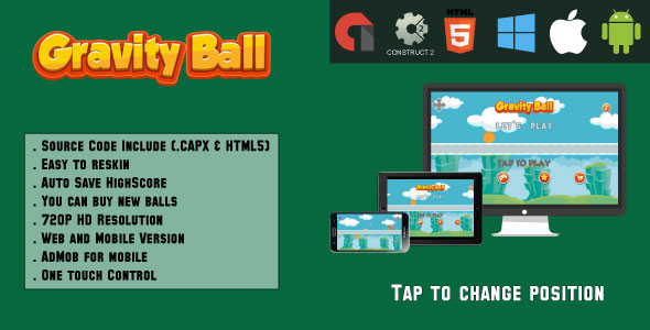Gravity Ball - HTML5 Game (.CAPX & HTML) - CodeCanyon Item for Sale