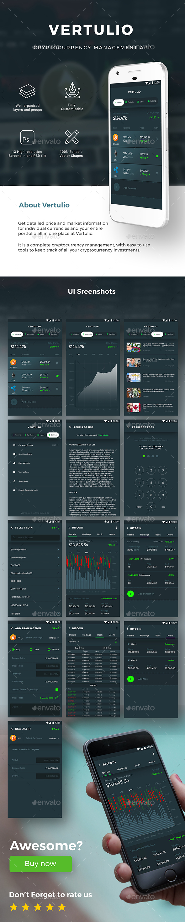 Cryptocurrency Management App UI Kit for Andoird & iOS | Vertulio - User Interfaces Web Elements