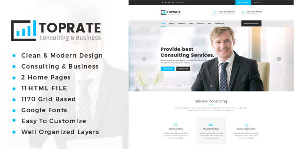 Image of Toprate - Business Consulting and Professional Services HTML Template