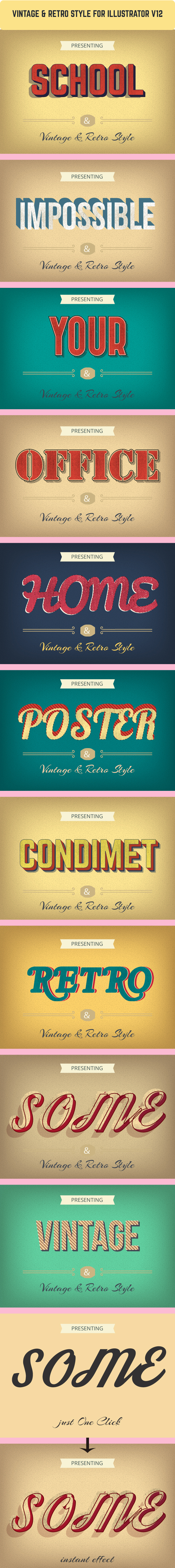 Vintage & Retro Graphic Styles for Illustrator - Styles Illustrator