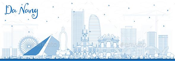 Outline Da Nang Vietnam City Skyline with Blue Buildings - Buildings Objects