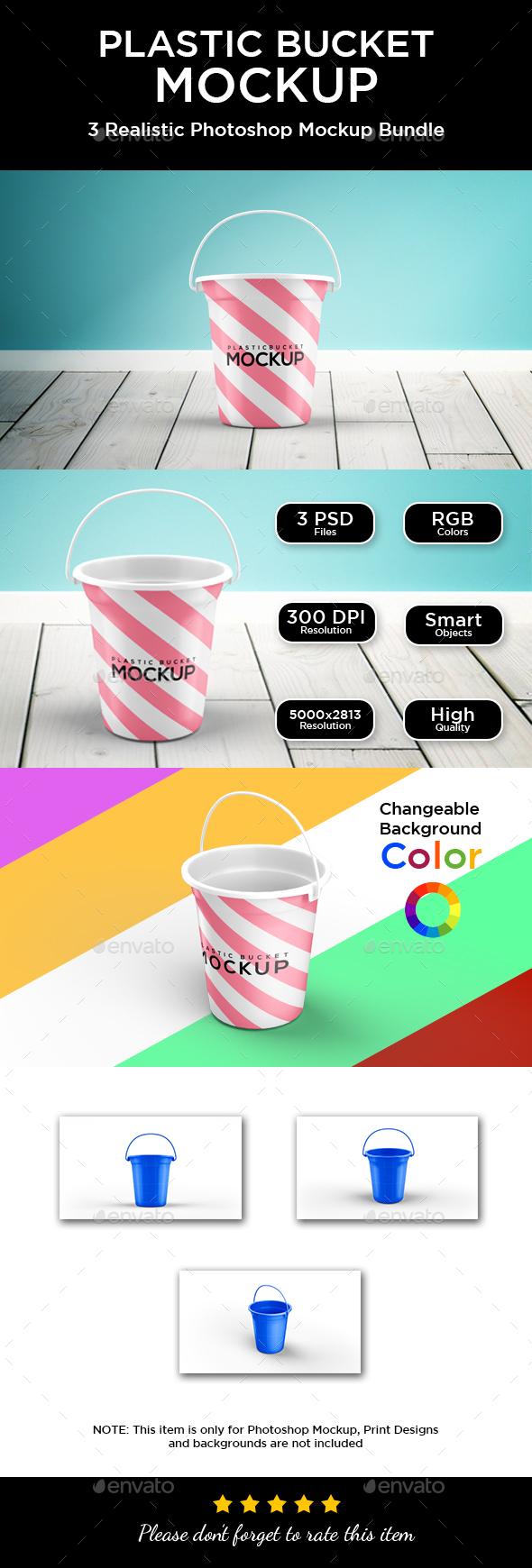 Plastic Bucket Mockup - Packaging Product Mock-Ups