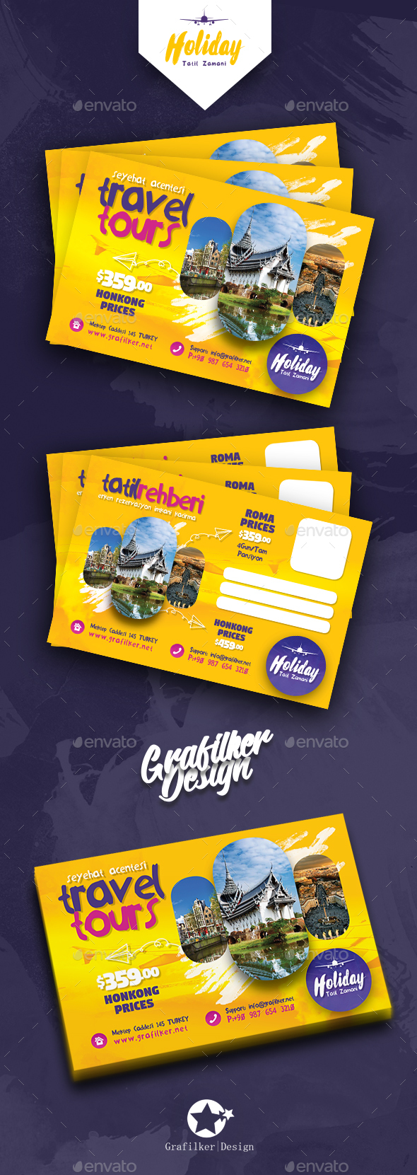 Travel Tours Postcard Templates - Cards & Invites Print Templates