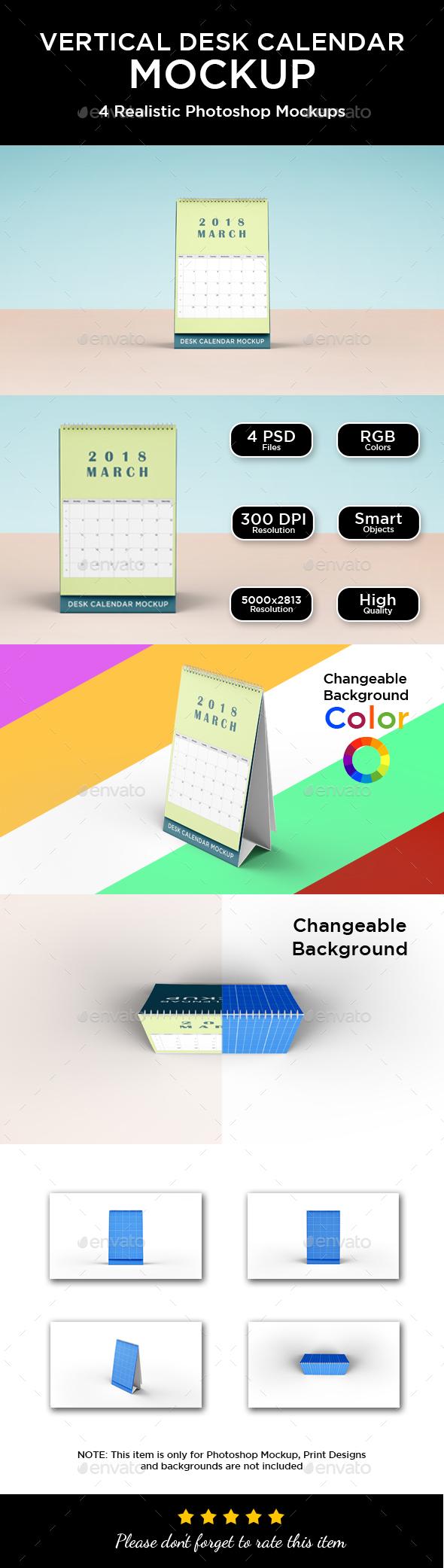 Vertical Desk Calendar Mockup - Print Product Mock-Ups