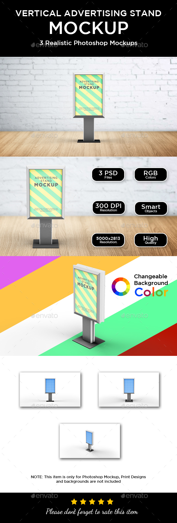 Vertical Advertising Stand Mockup - Signage Print
