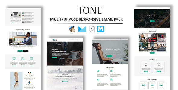 Tone - Multipurpose Responsive Email Template With Stamp Ready Builder Access - Newsletters Email Templates