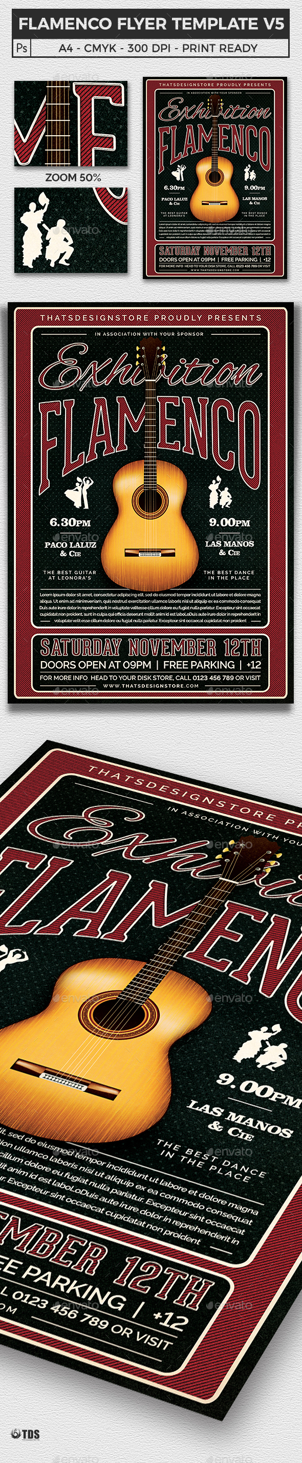 Flamenco Flyer Template V5 - Concerts Events