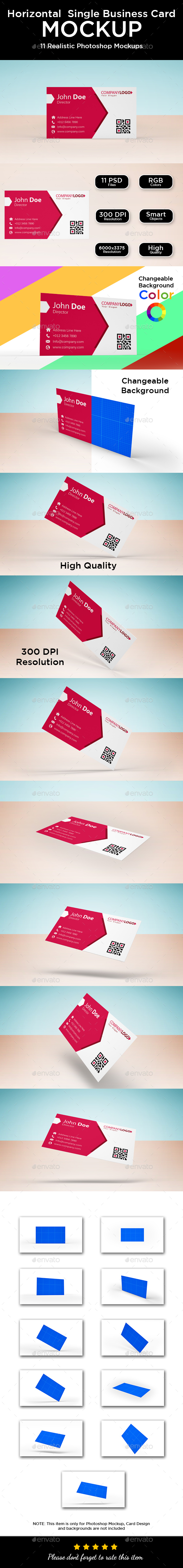 Business Card Mockup - Single Sided Horizontal - Business Cards Print