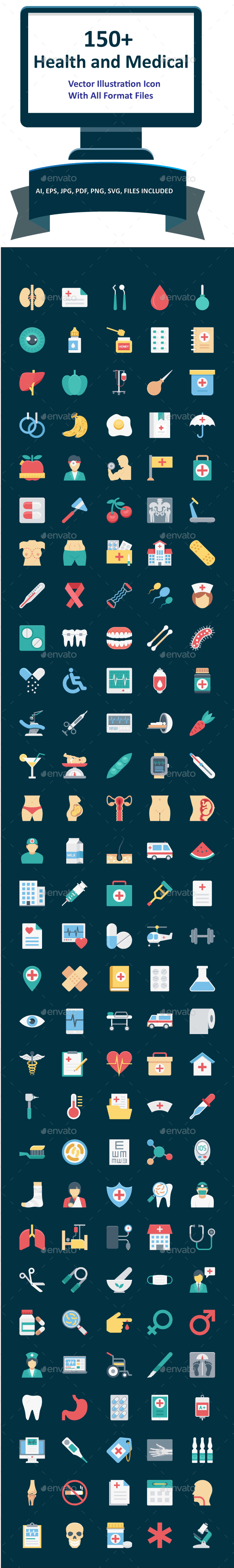150+ Health and Medical Color Vector Icons Pack - Icons
