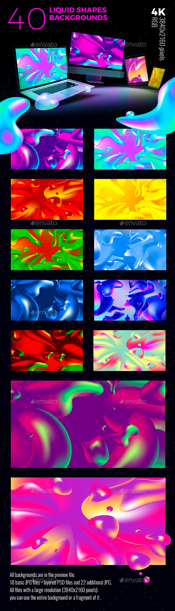 Big Set Liquid Shapes Backgrounds - Abstract Backgrounds