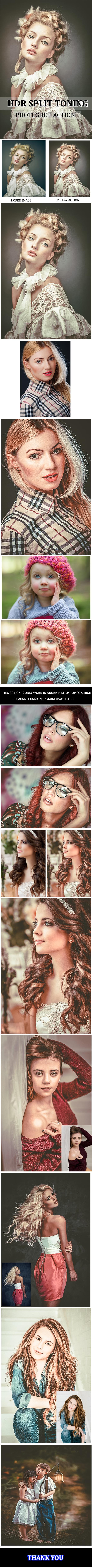 Hdr Split Toning Portrait :: Photoshop Action - Photo Effects Actions