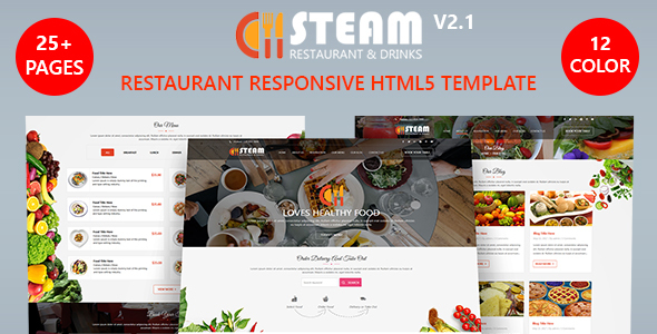 Image of STEAM - Restaurant, Food & Drinks HTML 5 Website Template