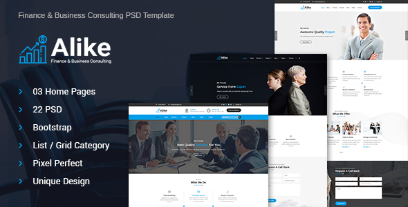 Alike Finance and Business Consultancy Psd Template