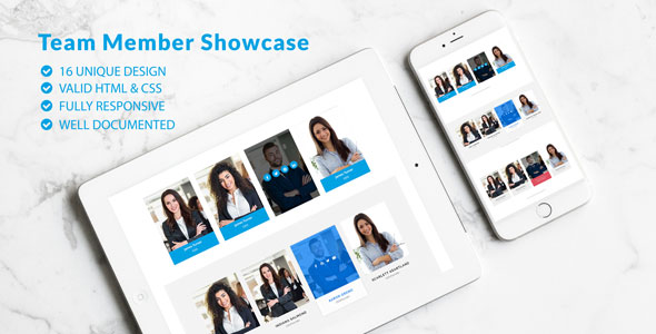 Team Showcase - Pure CSS Team Member Showcase - CodeCanyon Item for Sale