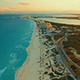 Cancun Beach During Sunset. Flying Above Shoreline with Hotels - VideoHive Item for Sale