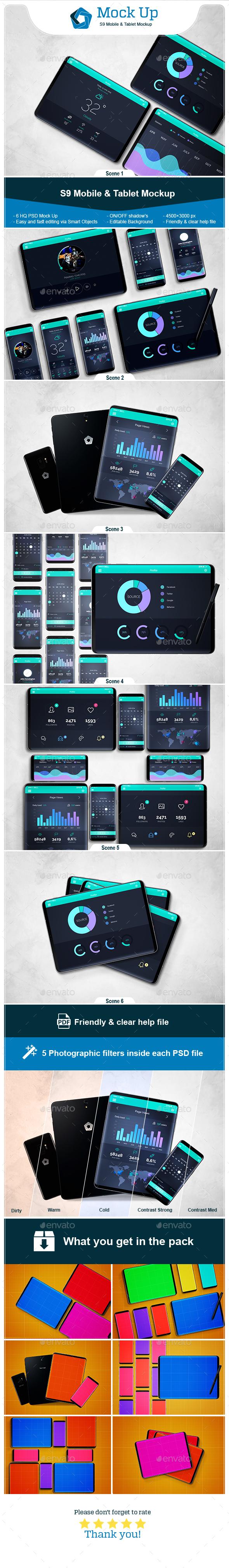 S9 Mobile & Tablet Mockup - Mobile Displays
