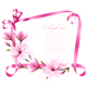 Nature Background With Blossom Branch of Pink Flowers and Ribbon