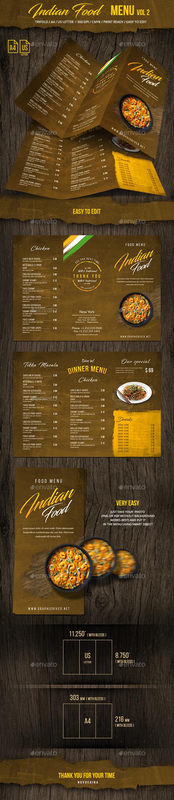 Indian Food Menu A4 & US Letter Vol 2 - Food Menus Print Templates