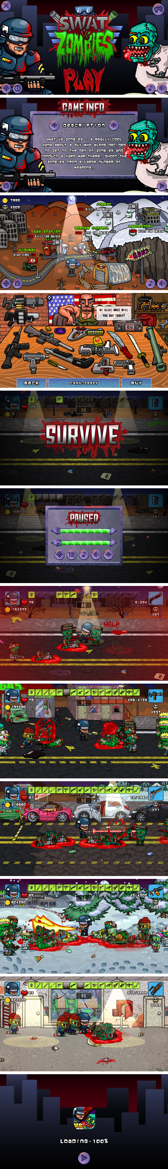 SWAT VS ZOMBIES - HTML5 Game 5 Levels + Mobile Version! (Construct 3 | Construct 2 | Capx) - 3