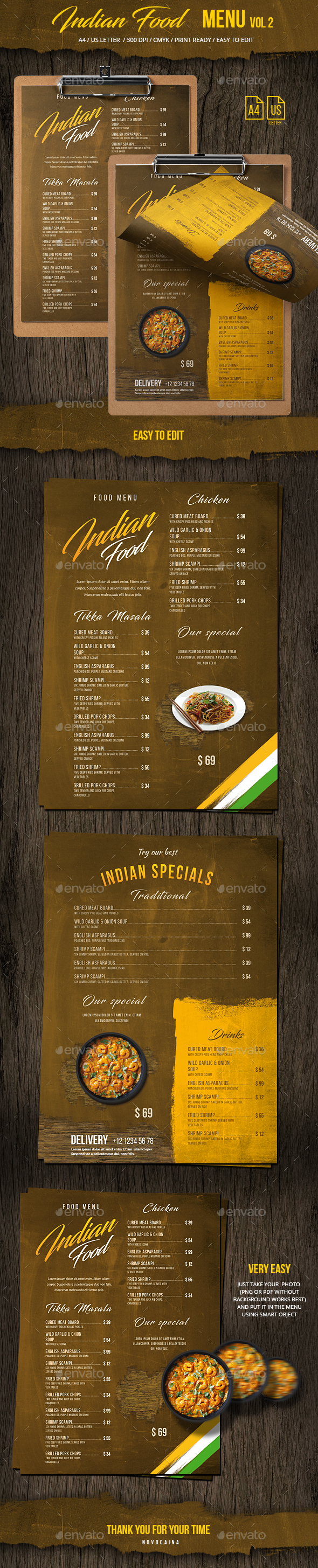 Indian Single Page Menu A4 & US Letter Vol 2 - Food Menus Print Templates