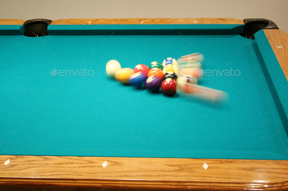 8 ball being broken - Stock Photo - Images