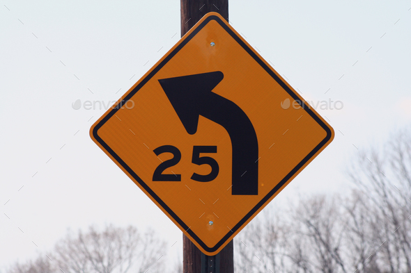 25 mph curve sign - Stock Photo - Images