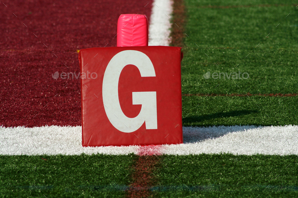 Football goal line yard marker - Stock Photo - Images