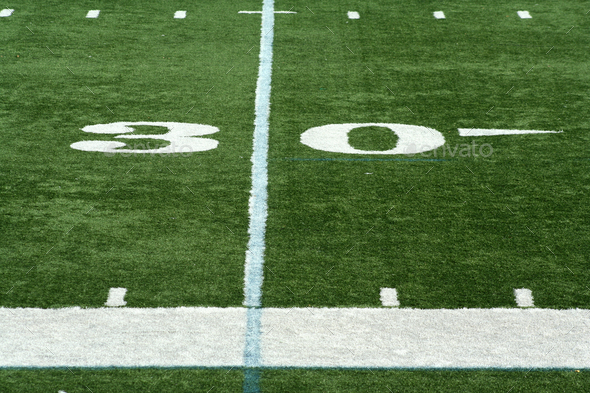 Football thirty yard marker - Stock Photo - Images