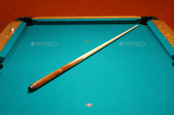 Cue stick on a pool table - Stock Photo - Images
