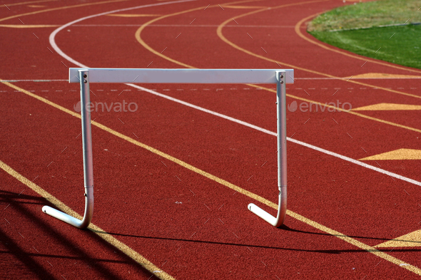 Running track hurdle - Stock Photo - Images