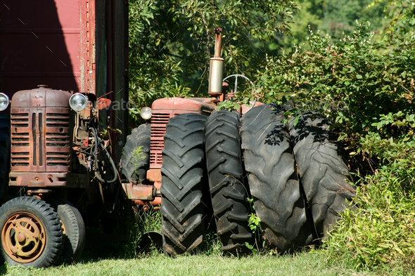 Old red tractors - Stock Photo - Images