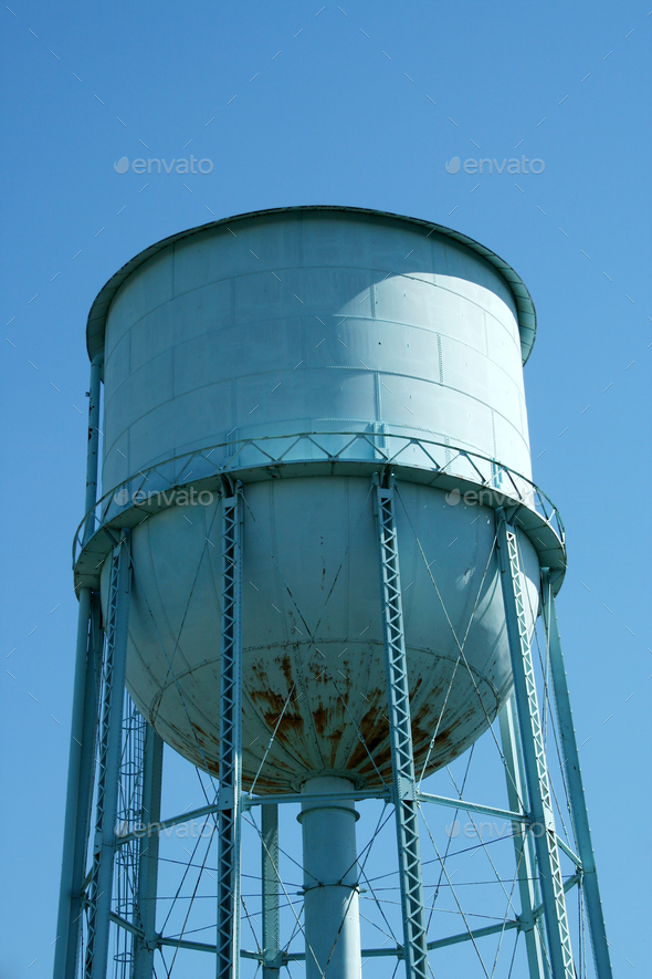 Blue Water Tower - Stock Photo - Images