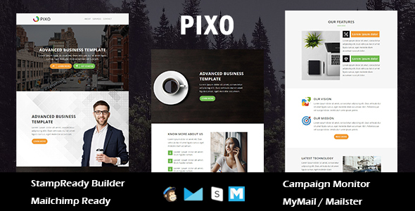 Pixo - Multipurpose Responsive Email Template With Online StampReady Builder Access - Newsletters Email Templates