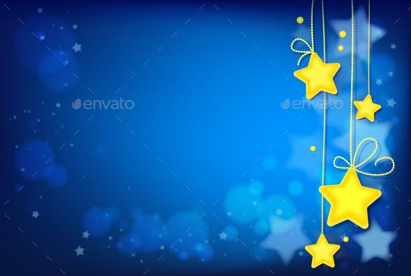 Shining Magic Stars on Dark Blue Background - Backgrounds Decorative
