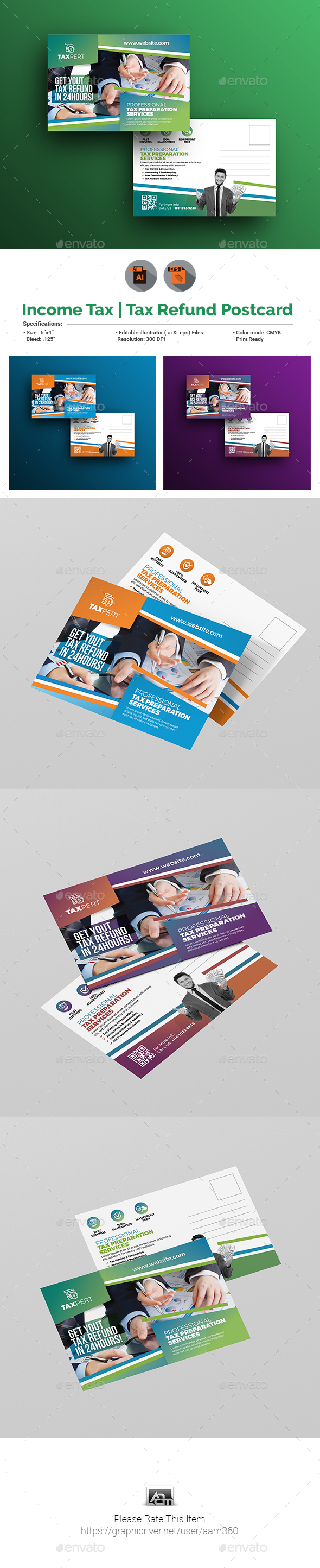 Income Tax/Tax Refund Postcard Template - Cards & Invites Print Templates