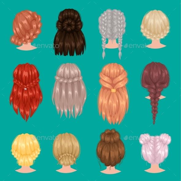Female Hairstyles Back Side Portrait - Miscellaneous Vectors