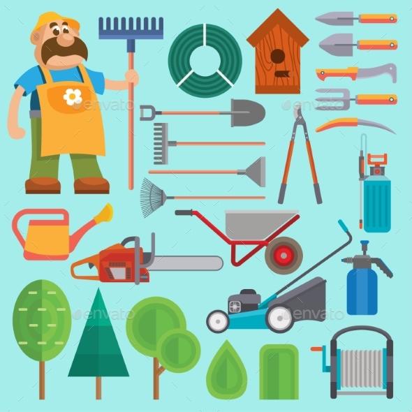 Garden Equipment and Gardener - People Characters