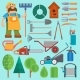 Garden Equipment and Gardener - GraphicRiver Item for Sale