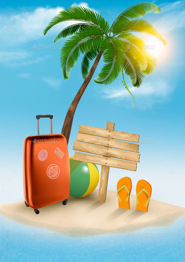 Seaside Vacation Vector - Travel Conceptual